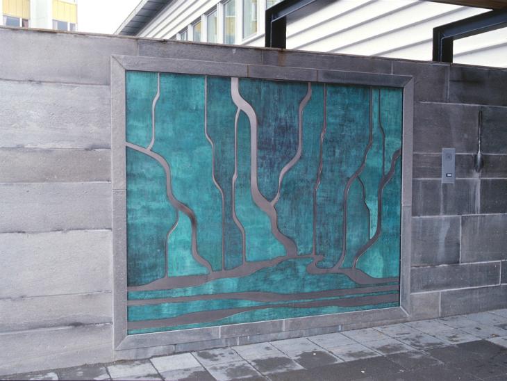 1. Landskap, 1999, 170 x 220 x 1 cm, patinert kopar og rustfritt stål, Ålesund sjukehus, psykiatrisk avdeling