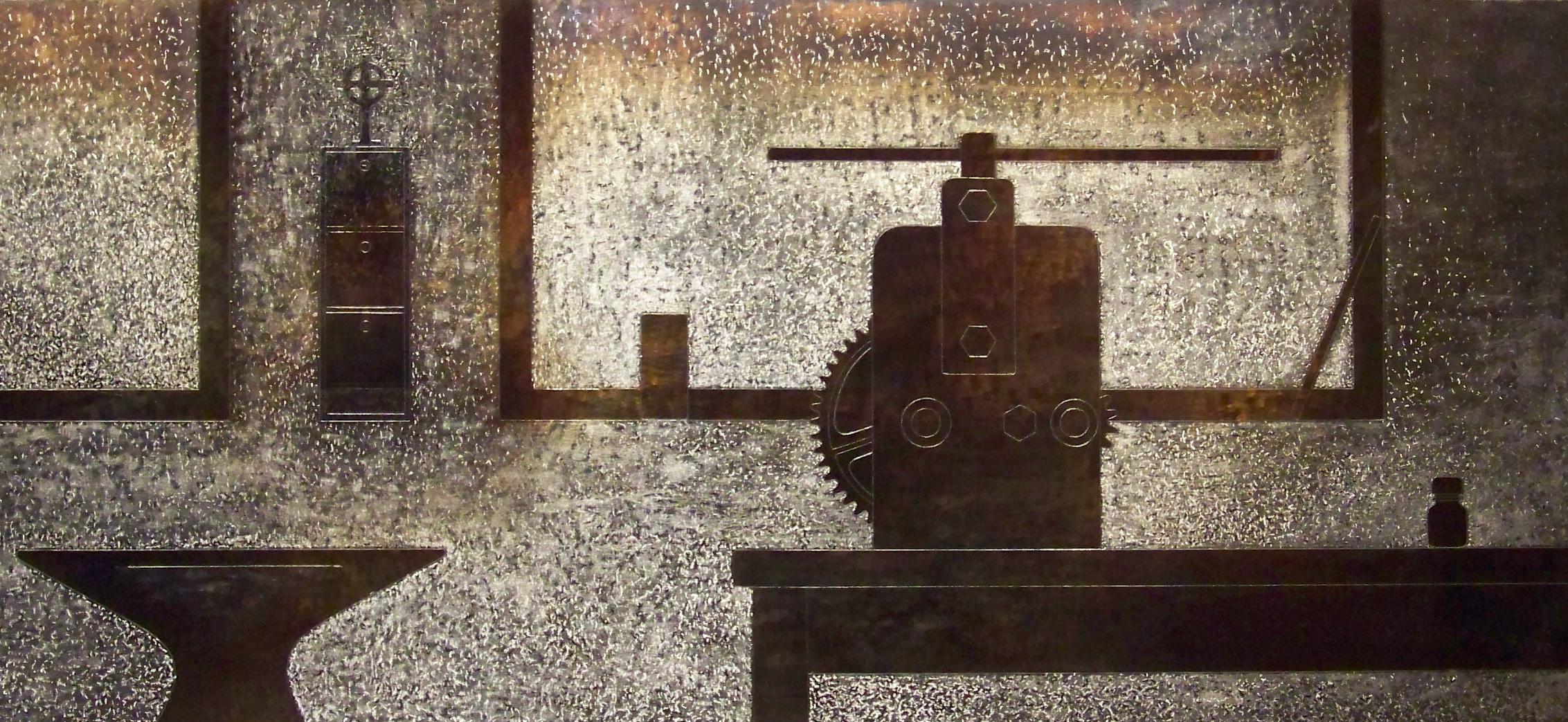 1.Komposisjon med ambolt og valse, 2011, 40 x 86 x 0,6 cm, oljebrent, slipt og anløpt stål