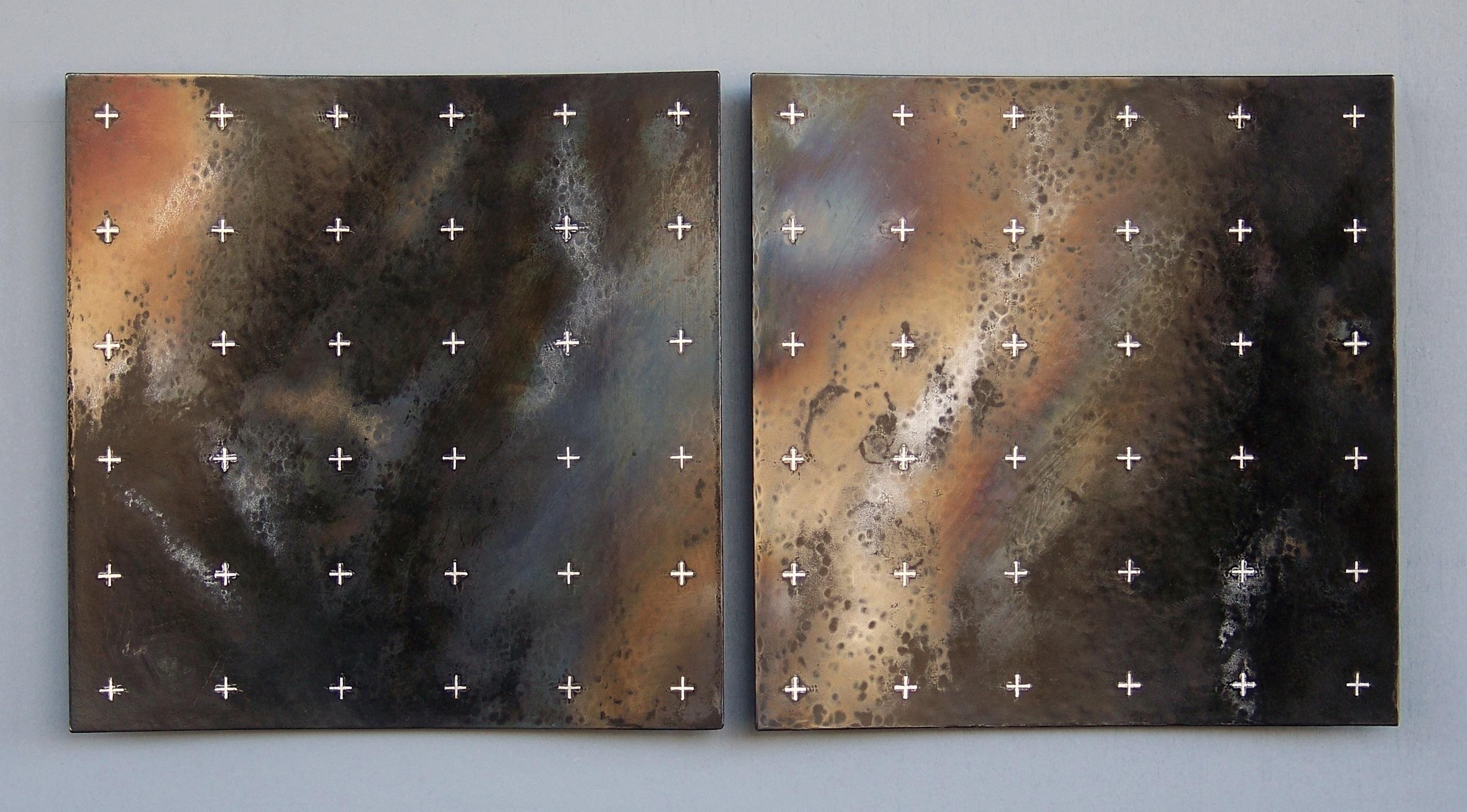 1.Latenza, 2014, 49,5 x 24 x 2 cm, oljebrent og anløpt stål med innlagt sølvtråd