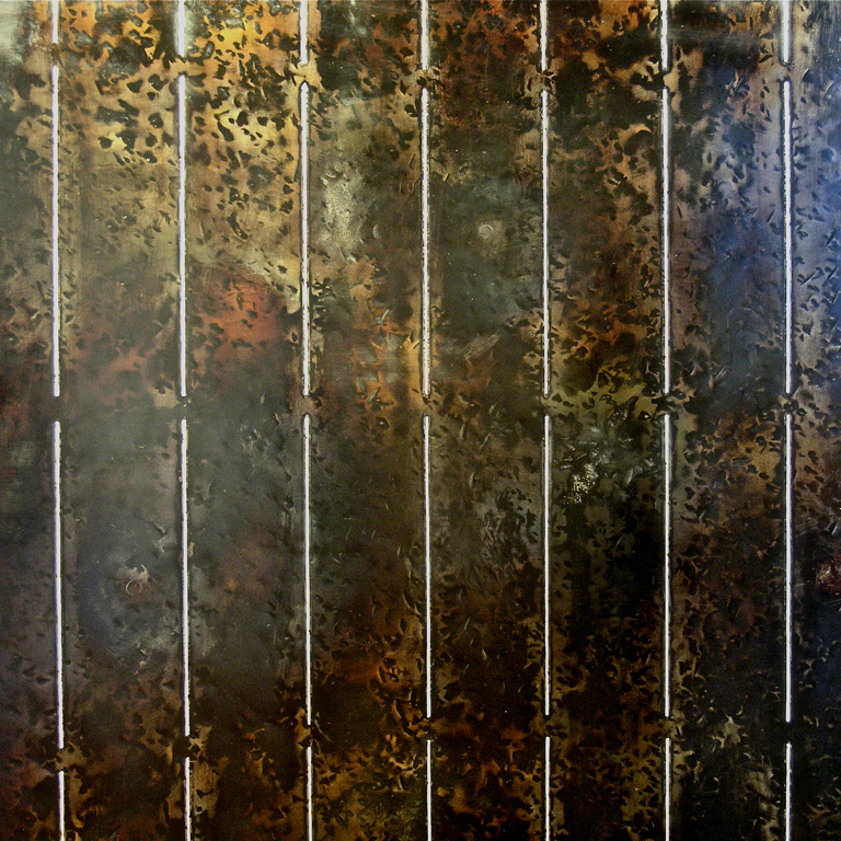 2. Form med striper, 2009, 105 x 80 x 30 cm, oljebrent stål med innlagt sølvtråd