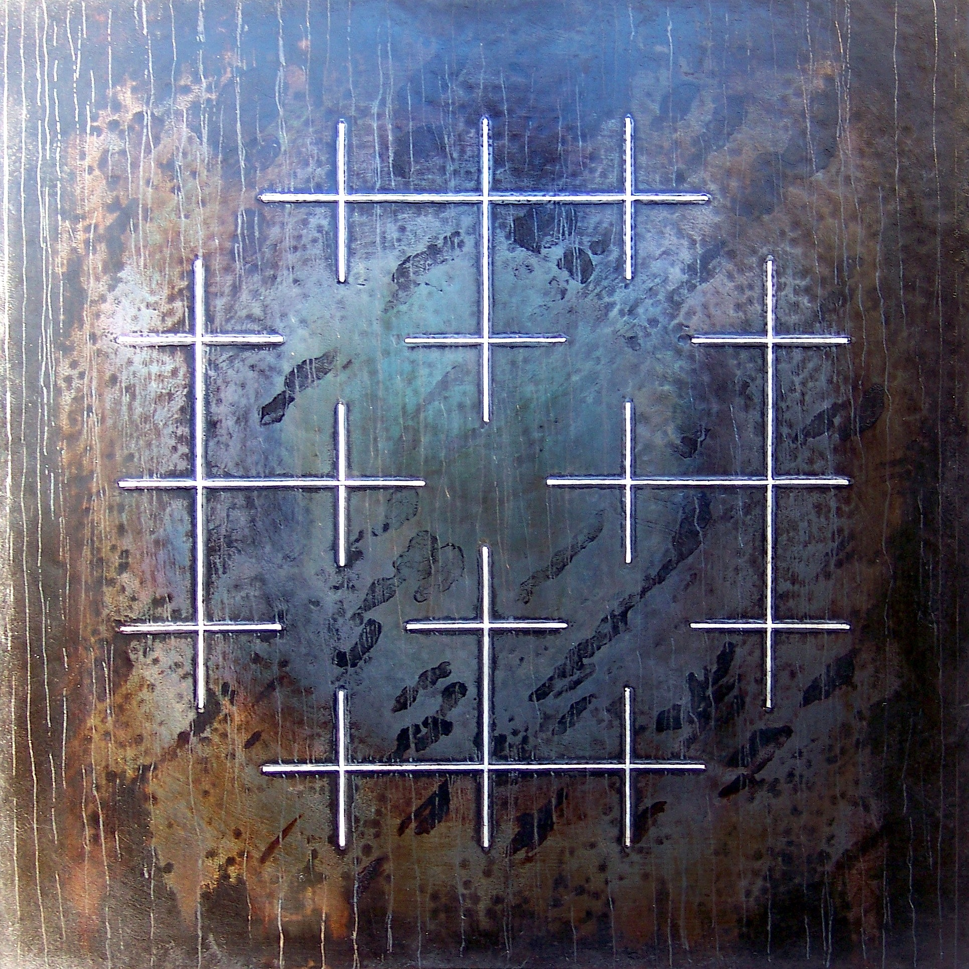 Rekonstruksjonar bilde 2, 2012, 98 x 176 x 2 cm, oljebrent og anløpt stål med innlagt sølvtråd