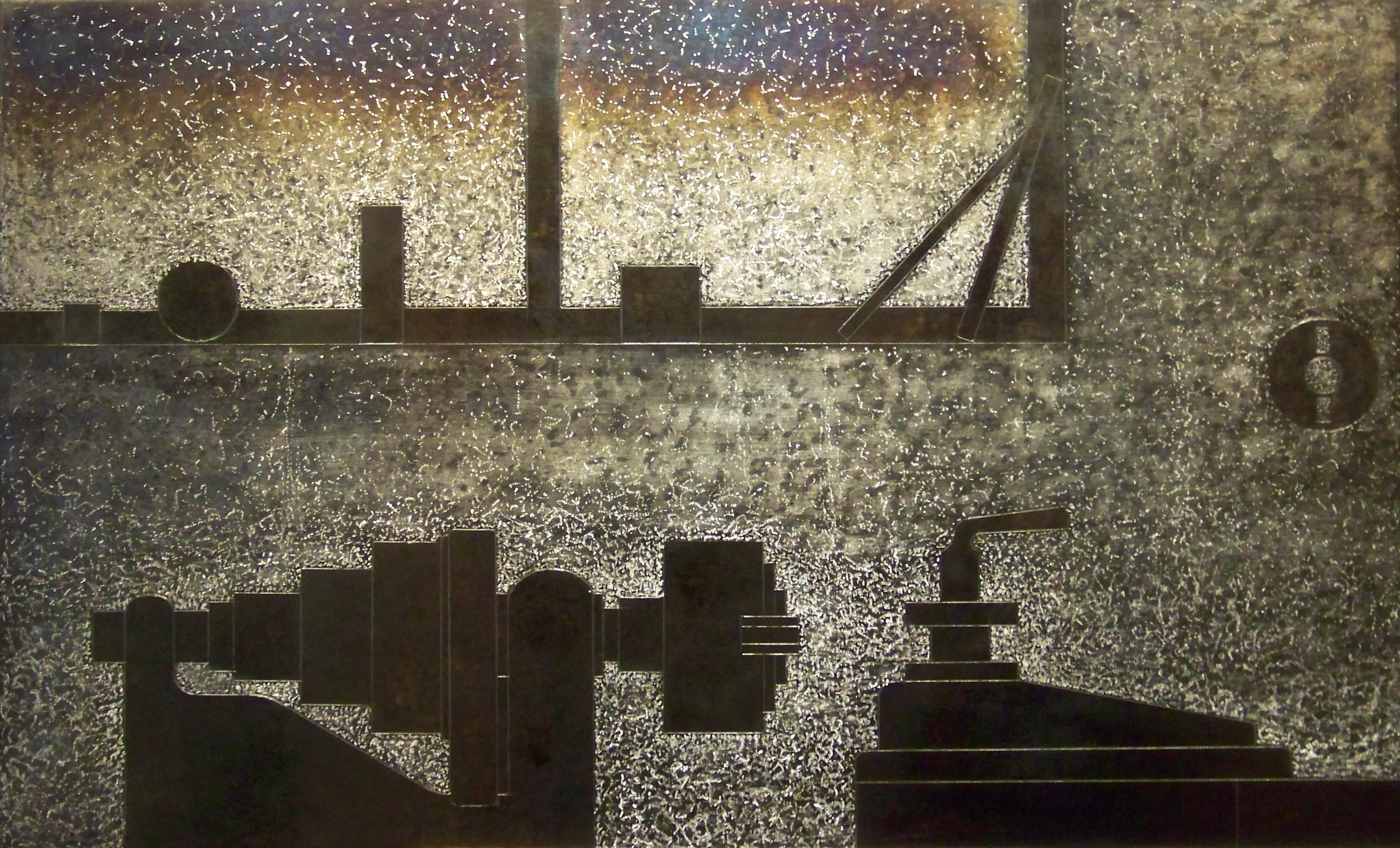 2.Komposisjon med dreiebenk, 2011, 40 x 66 x 0,6 cm, oljebrent, slipt og anløpt stål