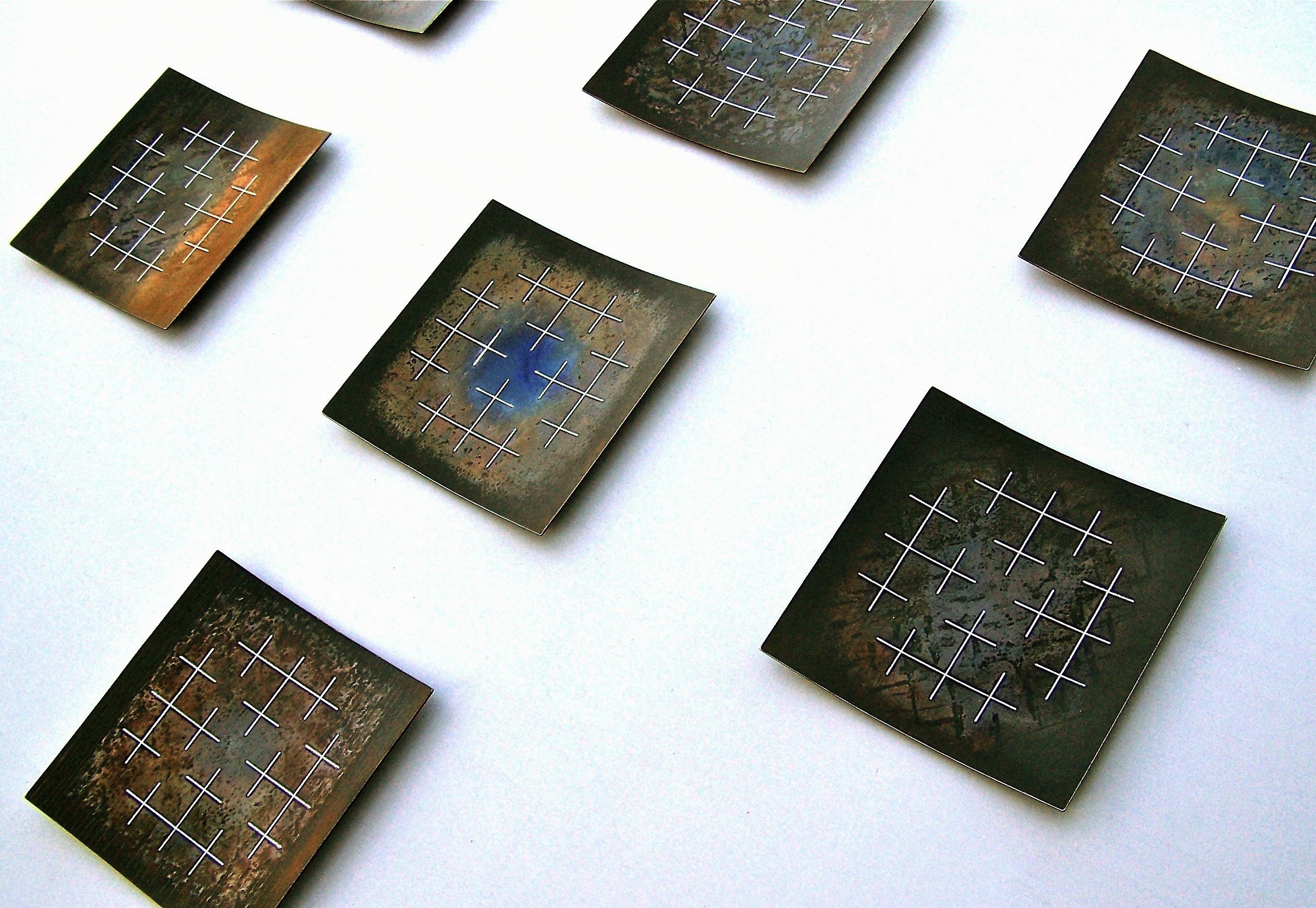 Rekonstruksjonar bilde 3, 2012, 98 x 176 x 2 cm, oljebrent og anløpt stål med innlagt sølvtråd
