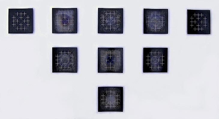 Rekonstruksjonar, 2012, 98 x 176 x 2 cm, oljebrent og anløpt stål med innlagt sølvtråd