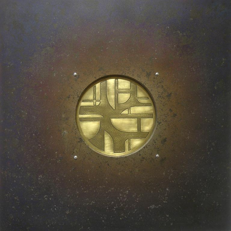 16.Komposisjon, 1999, 40 x 40 x 1 cm, anloept staal og etsa massing