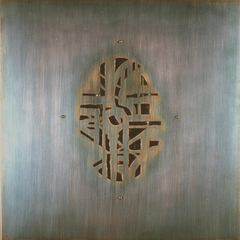 18.Komposisjon, 1999, 30 x 30 x 1 cm, kopar og rustfritt staal