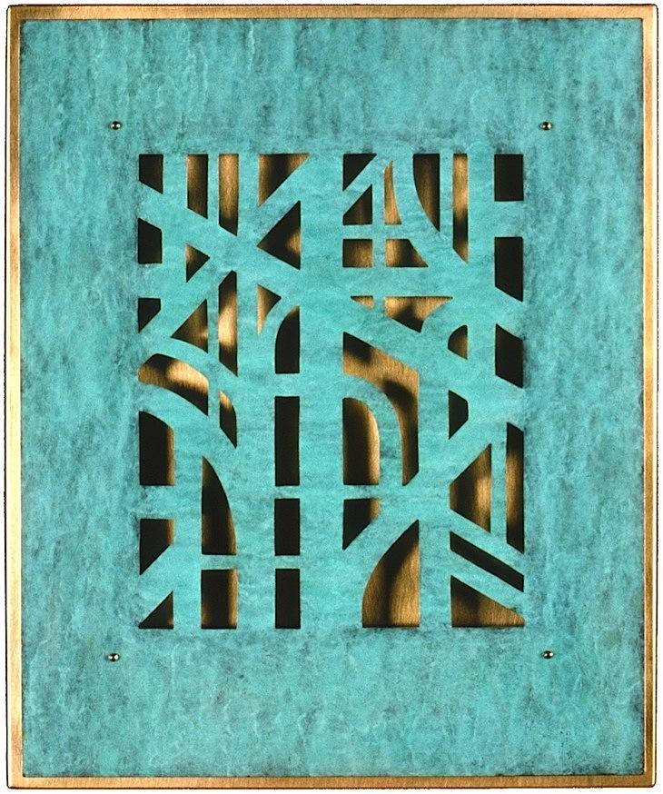 20.Tre, 1999, 32 x 27 x 1 cm, patinert kopar og massing