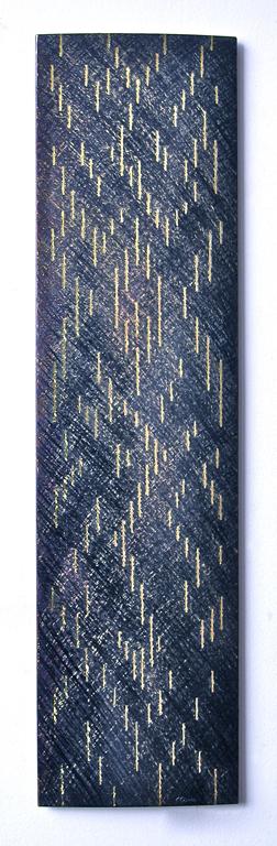 4.Utan tittel 1, 2000, 50 x 12 x 1 cm, slipt og anloept staal med innlagt massingtraad