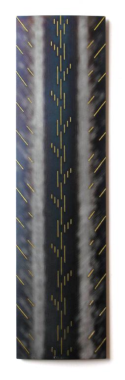 5.Utan tittel 2, 2000, 50 x 12 x 1 cm, slipt og anloept staal med innlagt massingtraad
