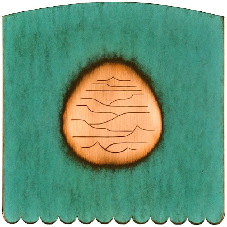 9.Landskap, 1999, 19 x 19 x 1 cm, gravert og patinert kopar